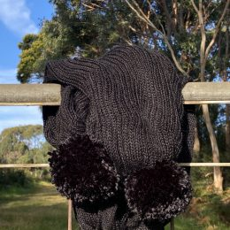 Black alpaca Pom Pom scarf soft gorgeous warm