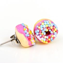 Purple Sprinkle Donut Studs