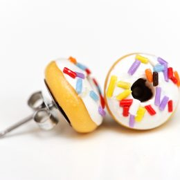 White long sprinkle donut studs