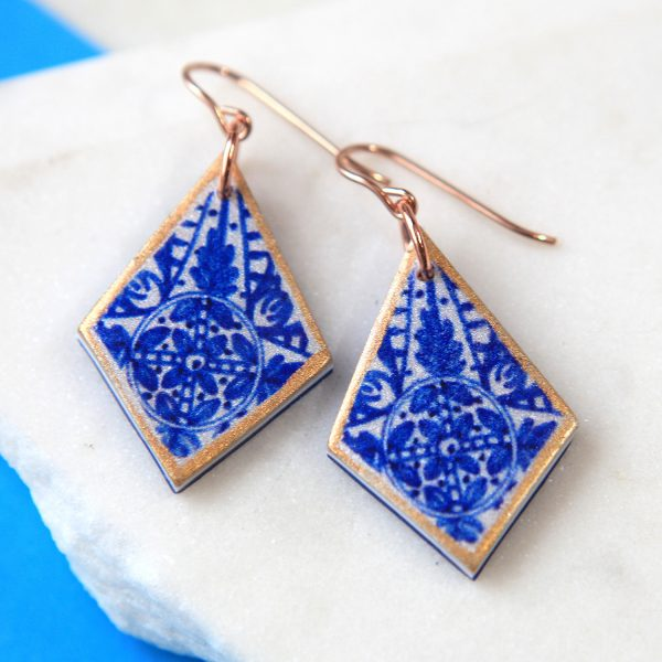 Blue INK Art Collection Earrings - sapphire rhombus Next romance jewellery handmade in Australia melbourne design