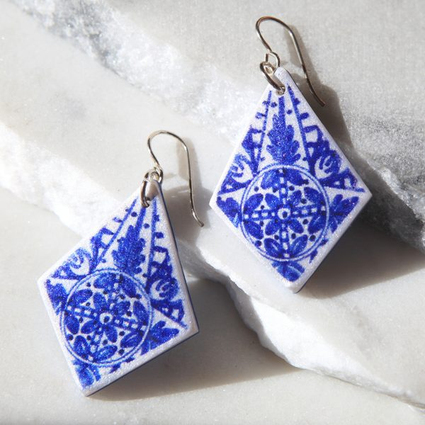 blue rhombus floral ink paint art earrings new next romance jewellery handmade in australia design