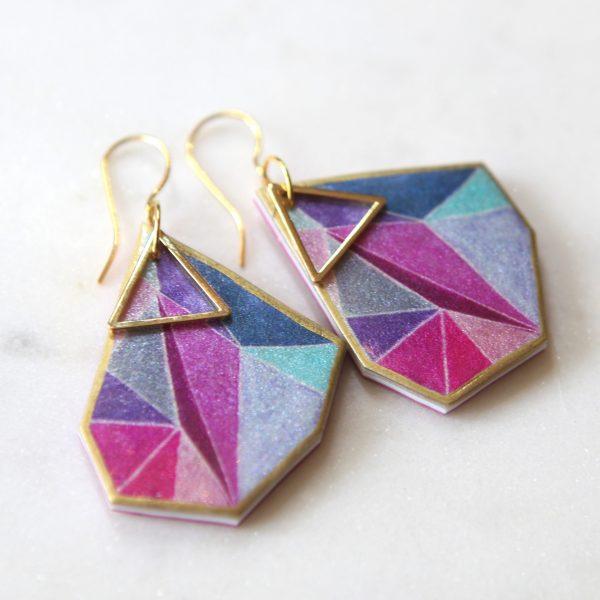 next romance - pink triangle art earrings jewellery australia MAKE IT COLLECTIVE