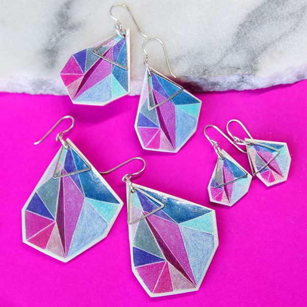 MAKE IT COLLECTIVE PINK email triangle art earrings NEXT ROMANCE