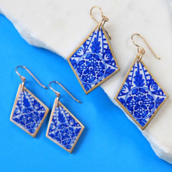 Blue INK Art Collection Earrings - sapphire rhombus Next romance jewellery handmade in Australia melbourne design make it collective jewellery
