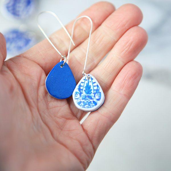 small blue ceramic teardrop long hook sterling silver earrings new next romance jewellery australian handmade make it collective