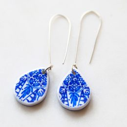 Next Romance Jewellery earrings Australia Make it collective online shop for handmade artisan gifts products blue ceramic drop earrings white silver