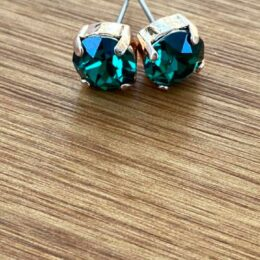 8mm Stud Earring embellished with a beautiful Emerald colour Swarovski Crystal.