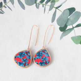 blue gum leaves long earrings hooks rose gold new next romance melbourne born jewellery designs