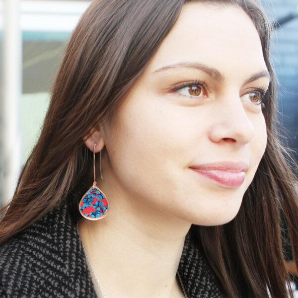 blue gum leaves long earrings hooks rose gold new next romance melbourne born jewellery designs