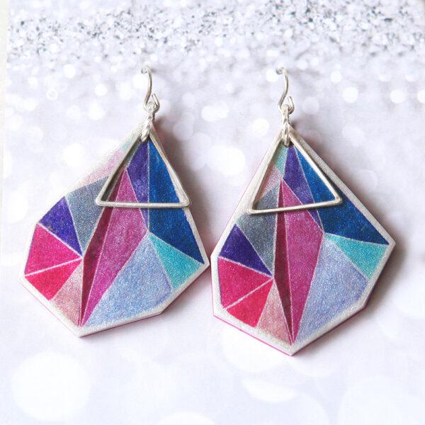 Triangle art earrings Next romance jewellery handmade in melbourne