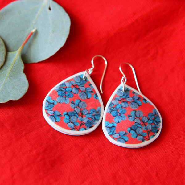 NEW red blue gum eucalyptus teardrop shape contemporary style earrings. Polyresin art tile. Handmade sterling silver or gold plated hooks.