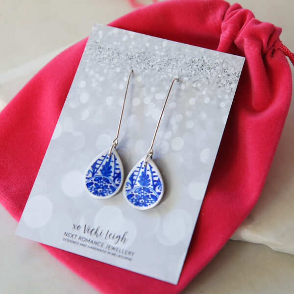 blue ceramic style long earrings hooks silver next romance jewellery australia