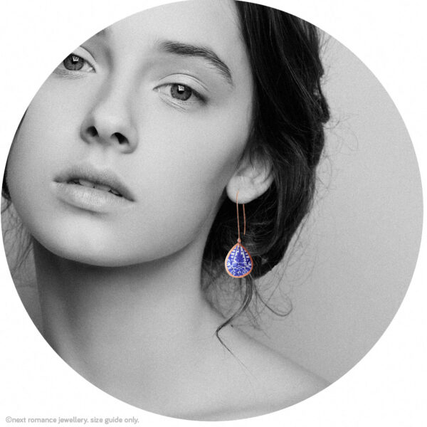 small copper rose blue ceramic teardrop earring model Next romance jewellery made in australia