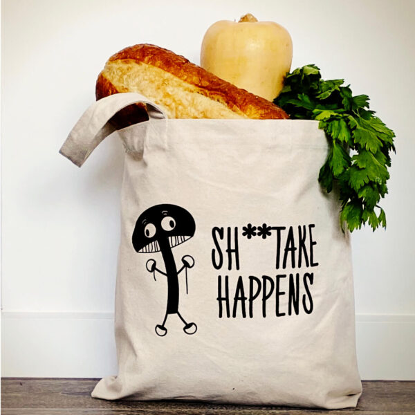 Canvas Tote bag featuring original critter design, Sh**take happens. Black screen print on natural canvas from our Melbourne Studio